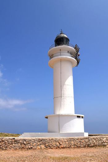 La Mola Lighthouse, Formentera Formentera Formentera Island Ibiza La Mola Lighthouse Landmarks SPAIN Sightseeing Architecture Balearic Islands Blue Building Exterior Day Direction Forme Guidance La Mola Lighthouse Low Angle View No People Outdoors Protection Safety Sky