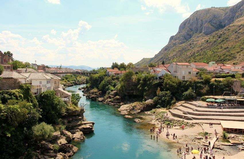 Take the plunge Blue Bosnia And Herzegovina Day High Angle View Landscape Mostar Mostar Bridge Mountain Nature Summer Water