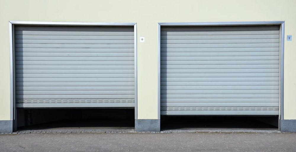 Close-up of garage shutters