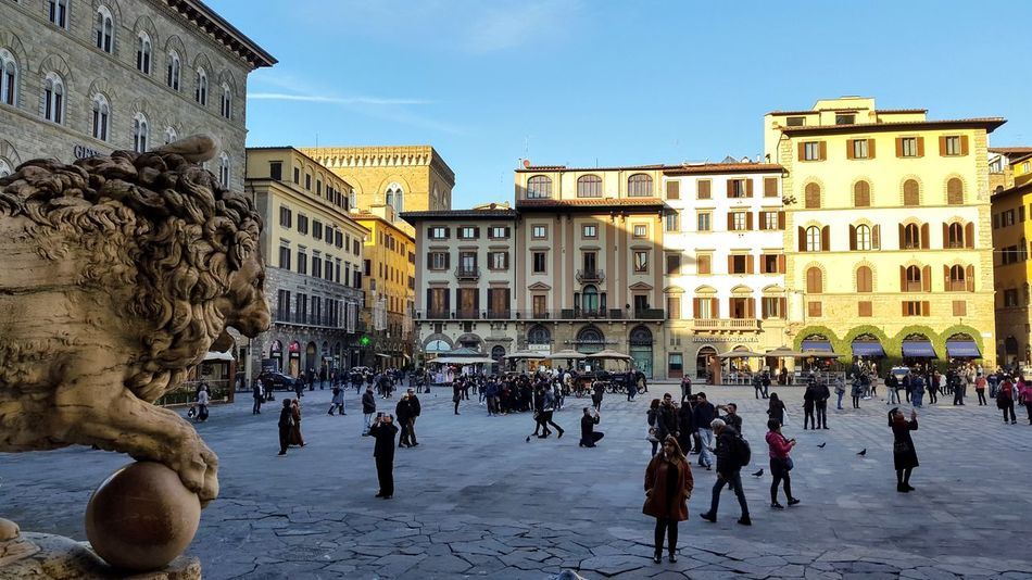 City Travel Destinations People Day City Building Exterior Architecturefirenze Large Group Of People Outdoors Square florencia Firenze, Italy