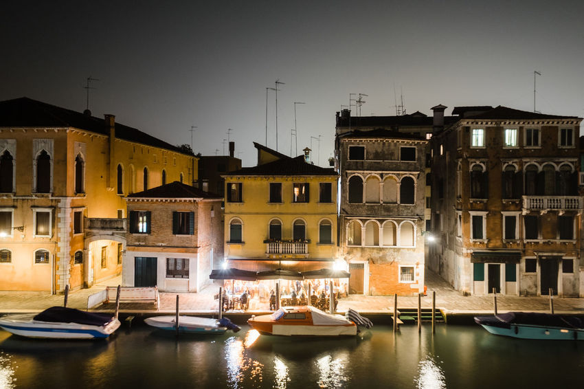 Venice, Italy Architecture Boat Building Exterior Built Structure Canal City Clear Sky Illuminated Mode Of Transport Moored Nature Nautical Vessel Night No People No Person Outdoors Residential Building Sky Transportation Travel Destinations Venice Water Waterfront Yacht