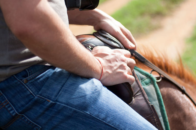 Casual Clothing Day Focus On Foreground Horse Human Finger Outdoors Part Of Person Riding
