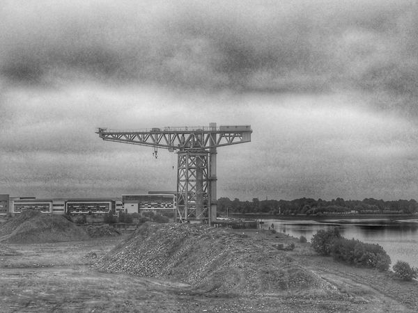Sky Outdoors Landscape Day Field Nature Cloud - Sky No People Water Scenics Tranquility Beauty In Nature Tree Clydeside GLASGOW CITY Eye Em Scotland Scotland Eyeem Scotland  Clydebank RiverClyde Titancrane Titan Built Structure Blackandwhite Blackandwhite Photography
