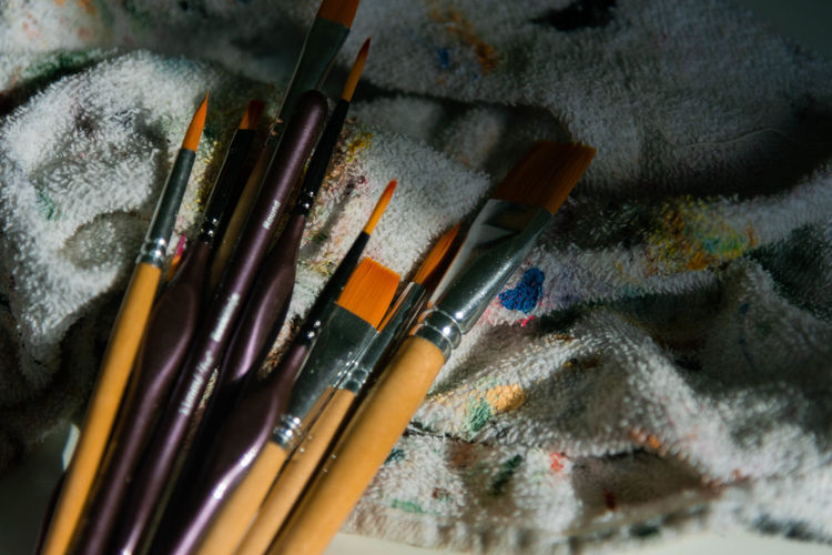 High angle view of paintbrushes