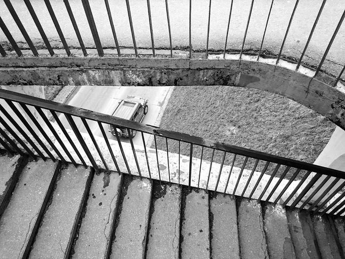 Mobilephotography Urban Geometry Streetphotography Streetphoto_bw Blackandwhite Black And White Monochrome Lookingdown Railings Stairs
