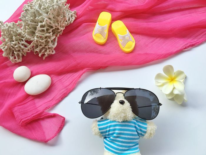 Colorful summer. Flipper Copy Space Background Beautiful Coral Spring Summer Black Beer Sunglasses Still Life No People Toy Representation Stuffed Toy High Angle View Animal Representation Holiday Close-up Indoors  Art And Craft Animal Beach Directly Above Glasses Creativity Pink Color Land Ribbon Hat