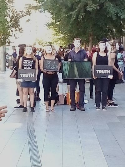 Streetphotography Signs Check This Out Face Protesting Silent Protest  Silent Protesting Cube Of Truth Sign Truth Anonymous Adelaide Adelaide, South Australia Adelaide S.A. Australia The Cube Of Truth Cubeoftruth Thecubeoftruth Crowd Full Length Standing Protestor Protest Placard Banner - Sign