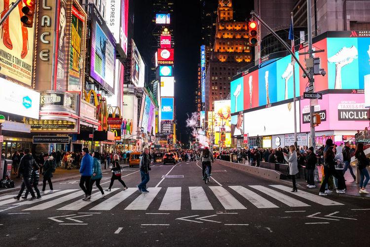 New York City Newyork City Cityscape USA City Lights Architecture Building Exterior Large Group Of People Group Of People Built Structure Crowd Crosswalk Advertisement Street Time Square, New York Billboard