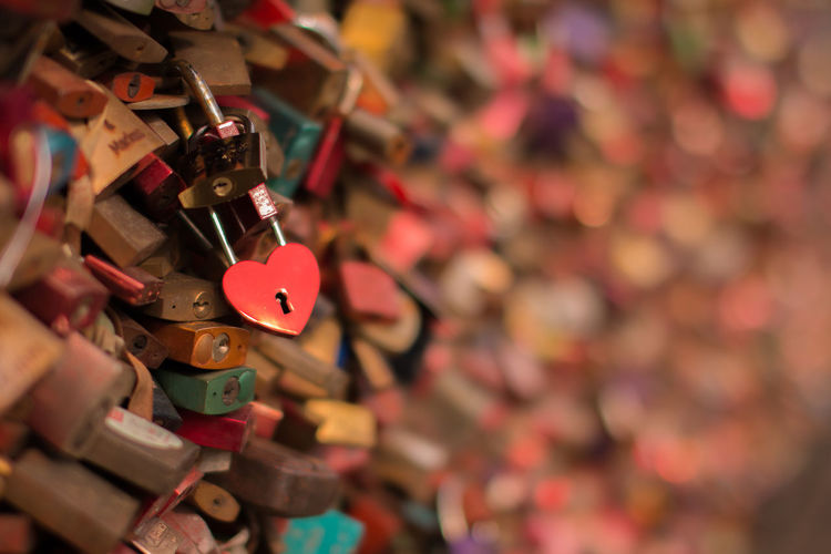 Focus On Foreground Heart Shaped Lock Large Group Of Objects Lock Love Love Lock Metal Multi Colored No People Padlock Selective Focus