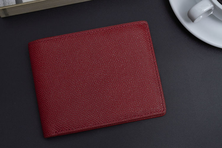 High angle view of wallet on table