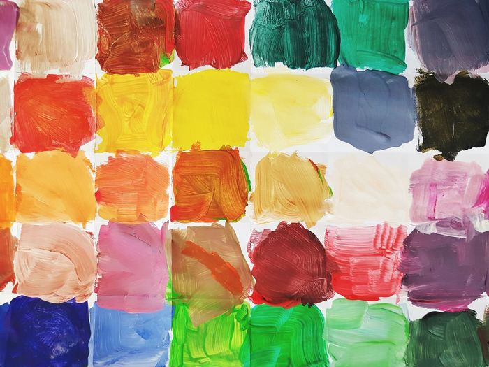 Colorful squares painted on a paper Colors Aquarelle Aquarell Squares Colors Bacground Pattern Texture Textured  Surface Paper Colorful Background Multi Colored Variation Paint Abstract Creativity Backgrounds Choice Painted Image Palette Color Swatch