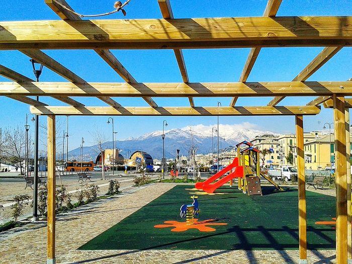 Playground Genova-Pra' Winter Winter Landscape Appennino Ligure Liguria Kinderspielplatz S3 Mini Android Photography Smartphone Photography Day Sunlight Outdoors Shadow Sky No People Childhood