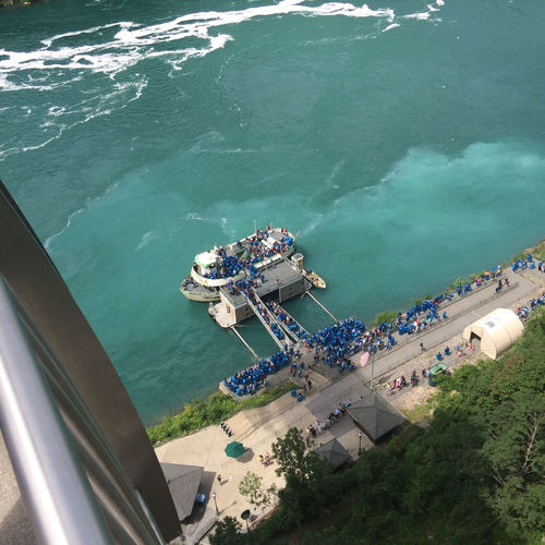 High Angle View Of Crowd By Ferry Moored In Niagara River