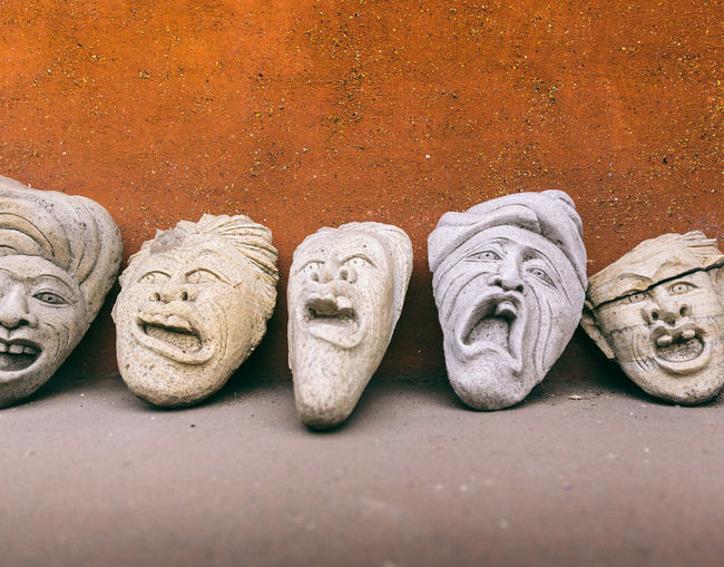 Arts And Crafts Bali Bali, Indonesia Crafts Emotions Found On The Roll INDONESIA Market Masks Theater Clay Close-up Commerce Day Emotion Faces Funny Faces Handmade Market Stall Mask Mask - Disguise No People Outdoors Stone Theatre