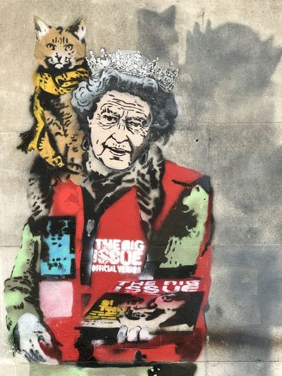 Graffiti Queen Queen Elizabeth  The Big Issue Architecture Art And Craft Close-up Communication Craft Creativity Day Female Likeness Graffiti Human Representation Indoors  Male Likeness Mural No People Poster Representation Text Wall - Building Feature Western Script The Portraitist - 2018 EyeEm Awards The Street Photographer - 2018 EyeEm Awards
