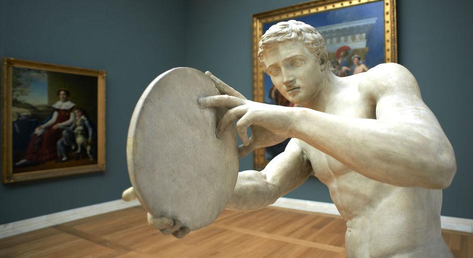 Portrait of man statue in museum