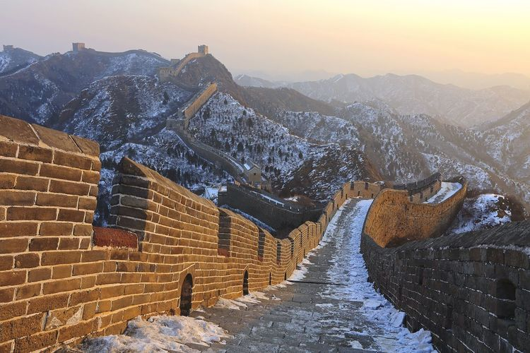 EyeEmNewHere Great Wall Of China Ancient Architecture Architecture Built Structure Cold Temperature Day Mountain No People Outdoors Scenics Sky Snow Sunrise Travel Destinations Winter