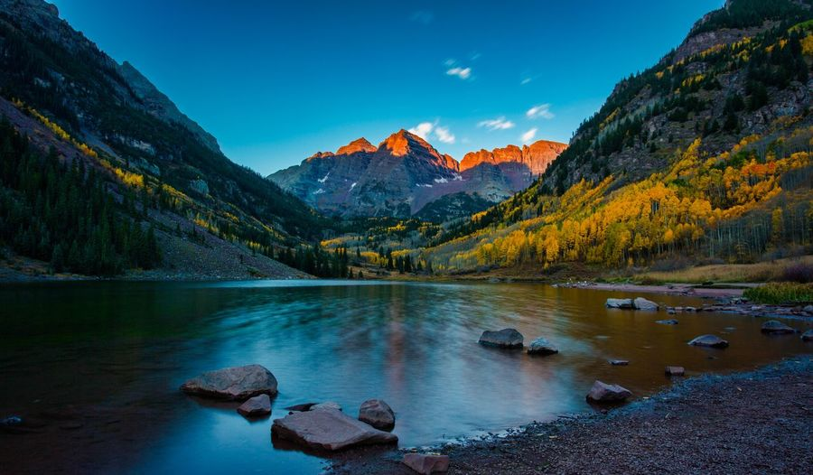 Alpen glow Sunrise_Collection Water Mountain Lake Tranquil Scene No People Landscape Mountain Peak Rockies USA