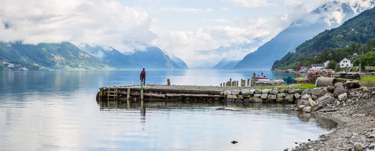 Calm Capture The Moment Coastline Distant Fjord Jetty Lonley Norway Ocean Outdoors Pier Rippled River Scenics Sea Tranquil Scene Tranquility The Great Outdoors - 2016 EyeEm Awards Vacation Landscapes With WhiteWall Sørfjorden Water Waterfront Adventure Buddies Panorama