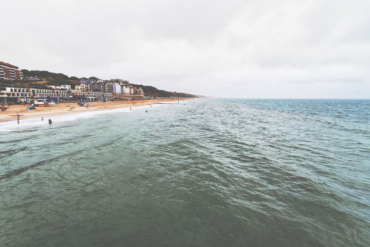 Beach View Boscombe Sea Front Architecture Beach Beauty In Nature Boscombe Building Exterior Built Structure Cloud - Sky Day Horizon Horizon Over Water Idyllic Land Nature Outdoors Scenics - Nature Sea Sky Tranquil Scene Tranquility Water Waterfront