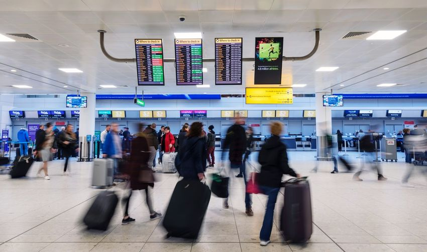 Busy lives Travel Adult People Group Of People Airport Modern Scotland Blurred Motion