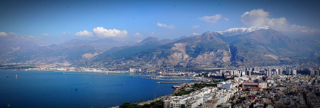iskenderun gündüz Mountain Landscape Sea Scenics Tranquility Cloud - Sky Water Mountain Range Panoramic Sky Cityscape Town Blue Day