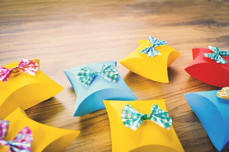 Celebration Chistmas Gift Box New Year Red Blue Gift Ribon Wood Background Yellow