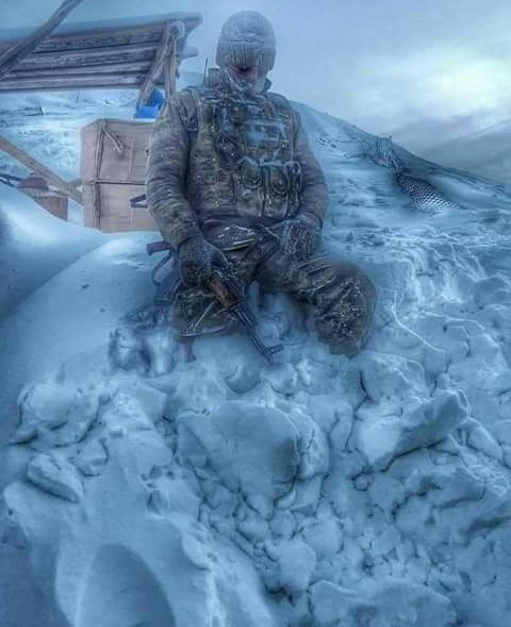 winter, snow, cold temperature, ice, close-up, one person, only men, one man only, people, nature, outdoors, military uniform, day