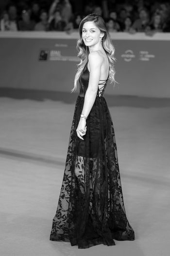 Rome, Italy - October 16, 2016: Alice Bellagamba walks on the red carpet for 'The Rolling Stone Ole' Ole 'Ole' !: A trip Across Latin America 'During The 11th Rome Film Festival at Auditorium Parco Della Musica. Adult Adults Only Alice Bellagamba Asymmetric Dress Fashion One Person One Woman Only Portrait Portrait Of A Woman Red Carpet Rome Film Fest Romeff11