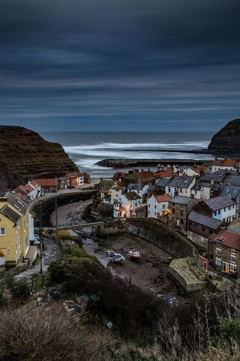Staithes harbour, North Yorkshire. Sea Building Exterior Horizon Over Water Town Outdoors Architecture Sky Built Structure Beach Scenics Landscape North Yorkshire