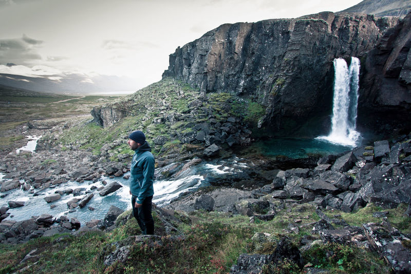 Adult Adults Only Beauty In Nature Cloud - Sky Day Full Length Hiker Hiking Iceland Mountain Nature One Person Outdoors People Real People River Rock - Object Science Sky Waterfall Lost In The Landscape Lost In The Landscape
