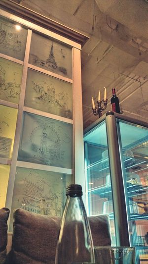 Water Bottle  Wall Drawing Glass Objects  Cealing