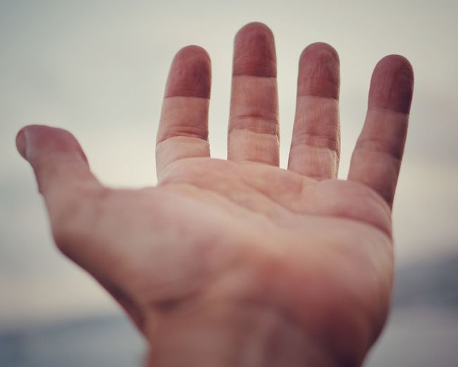 hand Hand Peace Love Sky Human Hand Palm Close-up Personal Perspective
