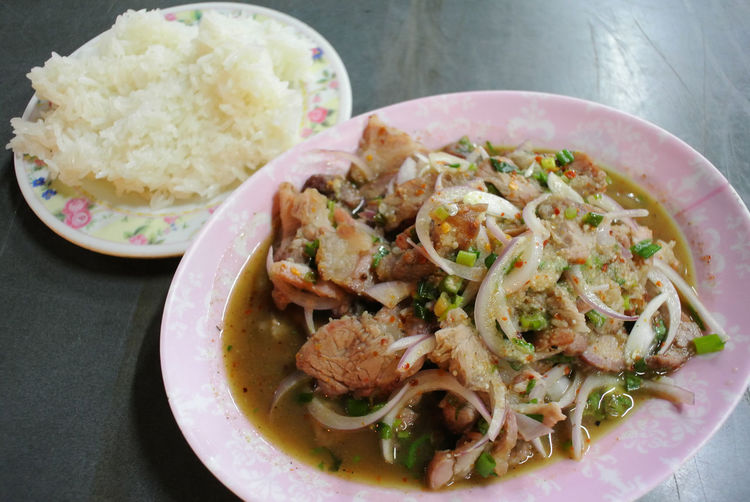 Thai easten food Cuisine Delicious Food Food And Drink Freshness Healthy Eating High Angle View Lunch Plate Pork Ready-to-eat Spicy Spicy Food Sticky Rice Thai Eastern Food Vegetables