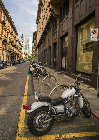 Torino, Italy Architecture Building Building Exterior Motorcycle No People On The Road Parking View Of The Town