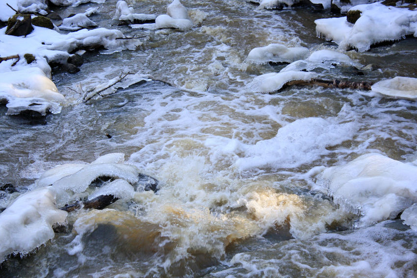 Beauty In Nature Cold Temperature Covered Covering Frozen High Angle View Ice Nature River Rock - Object Scenics Season  Snow Stream Tranquil Scene Tranquility Uppsala, Kvarnbo Uppsala, Sweden Water Weather White Color Winter