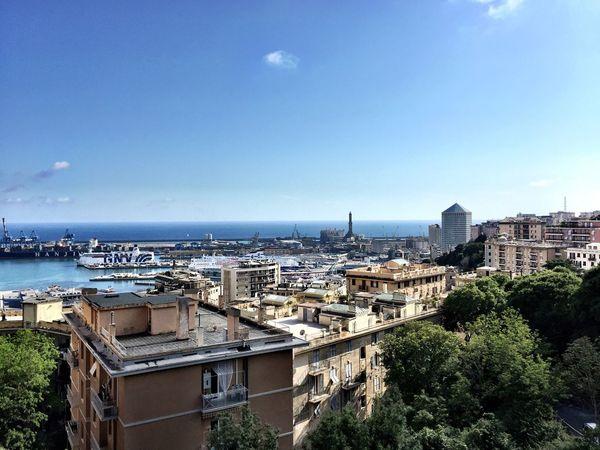 Genova Springtime Lanterna Di Genova Shipping Docks Ship