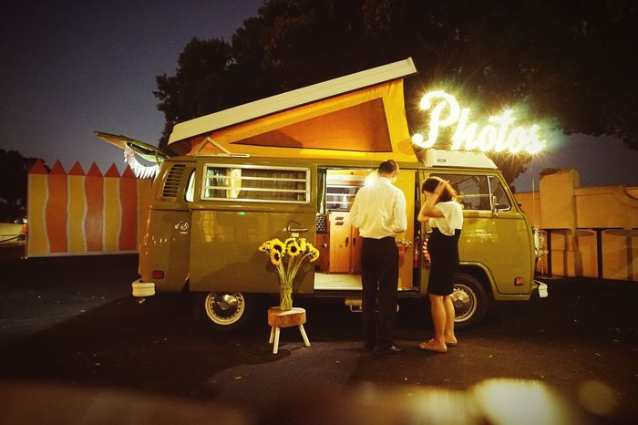 VW bus photo booth at night Photobooth Night City Architecture Illuminated Street Transportation Building Exterior Real People Mode Of Transportation Land Vehicle