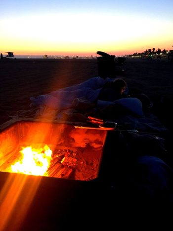 Beach Bonfire Fire Roasting Marshmallows Sandy Beach Warming Up By The Fire Palm Trees Southern California Summer Time  OC Sundown Beautiful Day Sunset