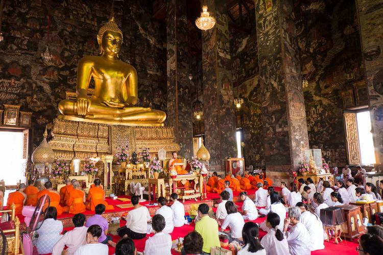 Buddhist listen to sermon in church of temple Art Buddha Buddhist Cultures Decoration Ecclesiastic Human Interior Interior Design Listen To Sermon Monk  People Place Of Worship Priest Religion Sculpture Temple Tourism