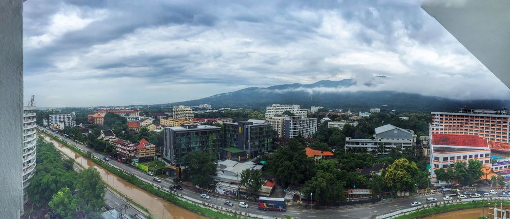 Point Of View Panorama Panoramic Mountains Clouds And Sky Cloudy Cityscapes Tower Building City IPhoneography