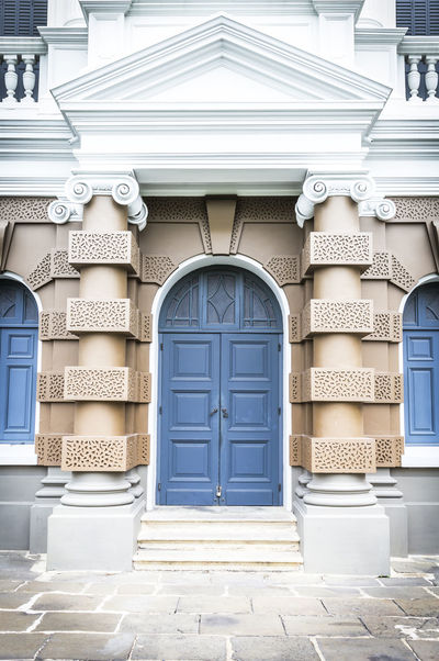 Classic blue front door Architecture Background Building Classic Contemporary Decoration Design Door Doorframe Doorknob Entrance Entry Estate Facade Building Footpath Home House Modern Architecture Residential  Stone