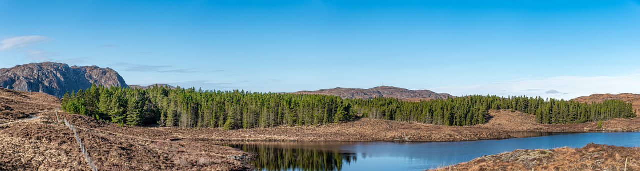 Loch Kenersary Trees Blue Sky Day Forest Minimal Cloud Cover Mountains No People Photo Merge Photography Still Loch Water