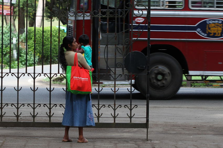 Bus Casual Clothing City City Life Day Lifestyles Mother & Child Nanu Oya Outdoors Red Sri Lanka