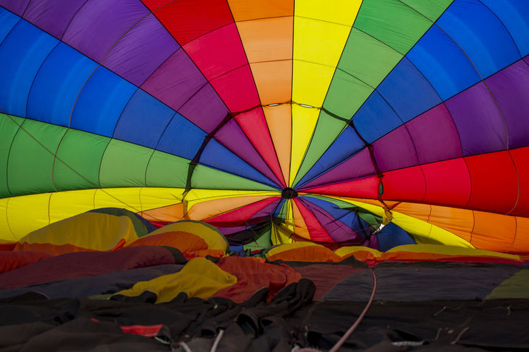 Multi colored hot air balloons