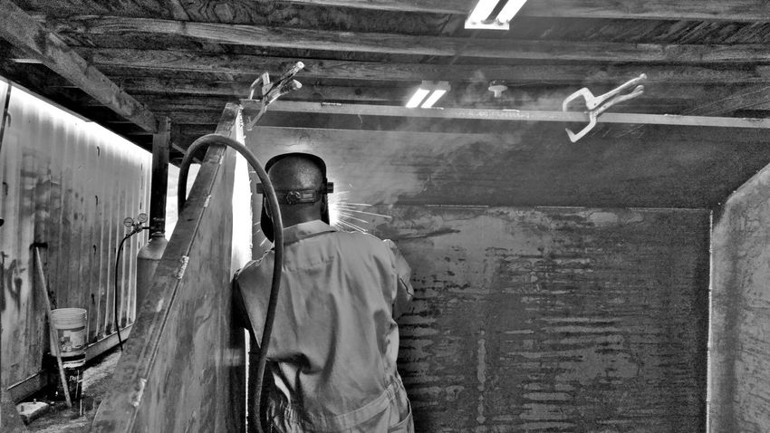 Working One Man Only Welder Weld Shop Black And White St.Croix, US Virgin Islands