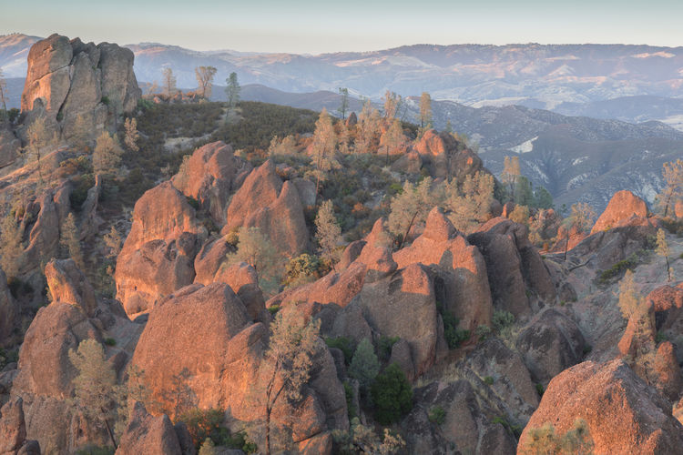 Golden hour over the high peaks . pinnacles national park, california, usa.