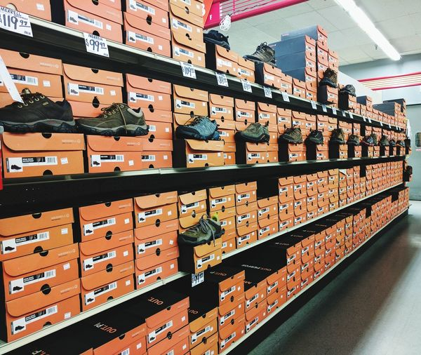 My perfection 😀 EyeEm Selects In A Row Full Frame Shelf Indoors  Large Group Of Objects No People Backgrounds Hiking Shoes Orange Boxes Shoe Boxes Straightened Perfectly Display EyeEm Best Edits The Week On EyeEm Employment My Work Art My Workplace Saleswoman