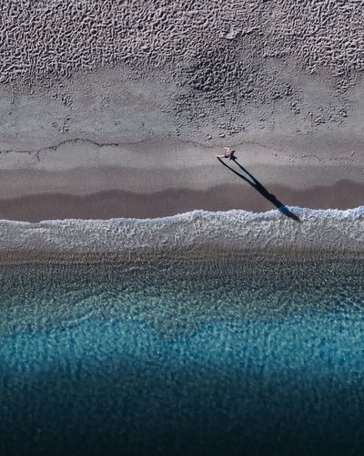 High angle view of person working on beach