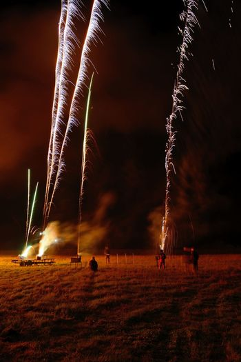 Firework display over field against sky at night